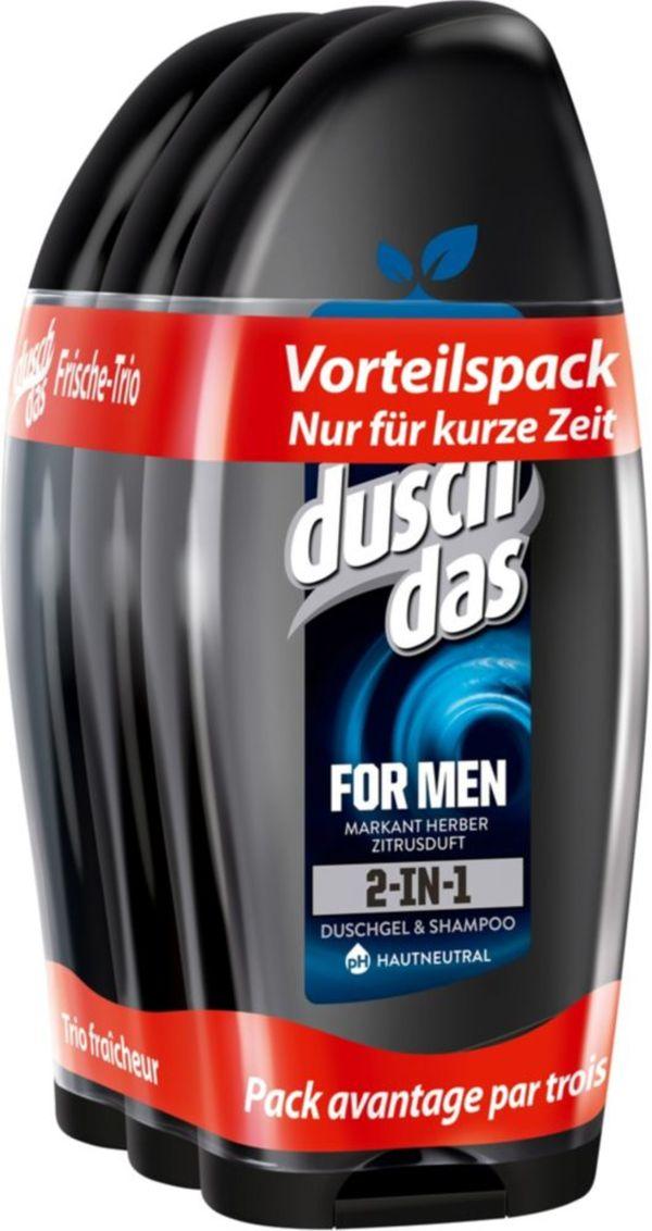 Duschdas For Men 2 in 1 Duschgel & Shampoo 3 x 250 ml