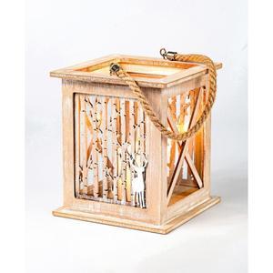 Windlicht in Holzoptik mit Tau, 15x15x18,5 cm