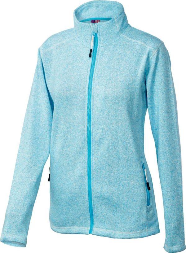 Damen Strickfleece Jacke in blau meliert, S (36-38)