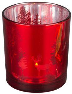 Teelichtglas - Rentiere - 7,5 x 8 cm