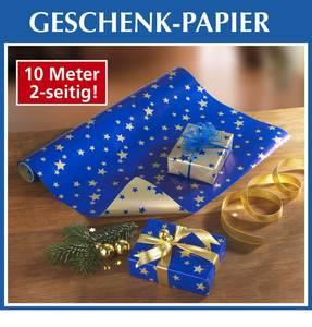 Geschenkpapier, doppelseitig, Sternen-Design, Blau Gold. 10 Meter