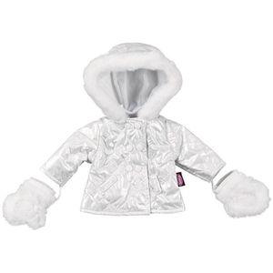 Winterjacke und Handschuhe für Puppe 50 cm