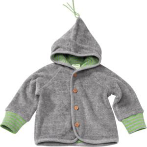 ALANA Baby-Jacke mit Kapuze, gefüttert, Gr. 62, in Bio-Baumwolle, grau, grün, für Mädchen und Jungen