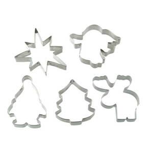 """Dr. Oetker             Ausstecher """"Weihnachten"""", aus Edelstahl, Motive: Elch, Wichtel, Engel, Stern und Tannenbaum, spülmaschinengeeignet"""
