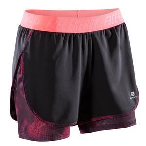 Sporthose kurz Fitness Cardio 500 2-in-1 Damen schwarz/rosa