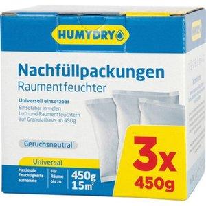 Humydry Premium Raumentfeuchter mit Nachfüllpackungen 3 x 450 g