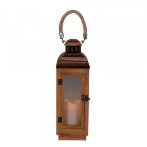 TrendLine LED Holzlaterne ,  braun, für den Innen- und Außenbereich
