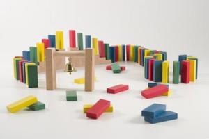 Coemo Domino Rallye aus Holz Holzbausteine