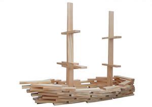 Coemo Holzbausteine natur Kreativ-Baukasten 120 Teile
