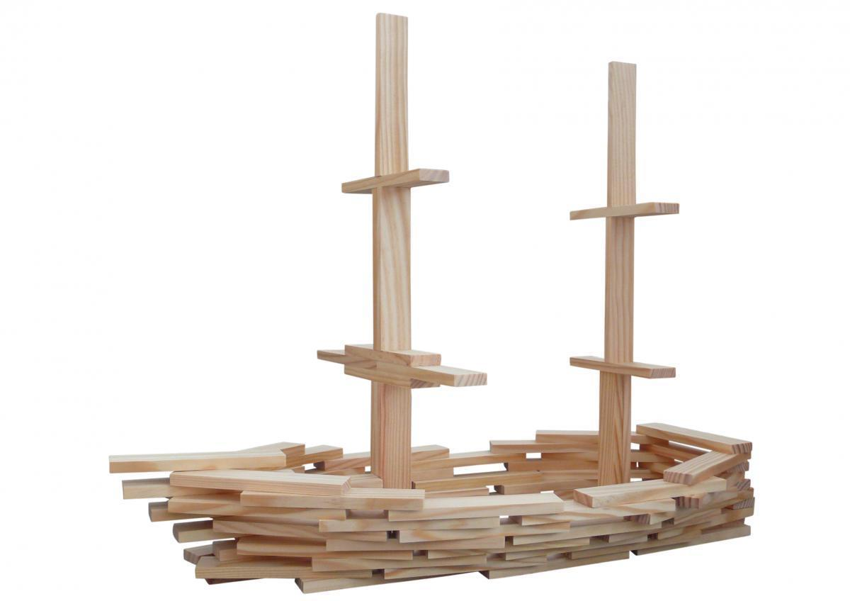 Bild 1 von Coemo Holzbausteine natur Kreativ-Baukasten 120 Teile
