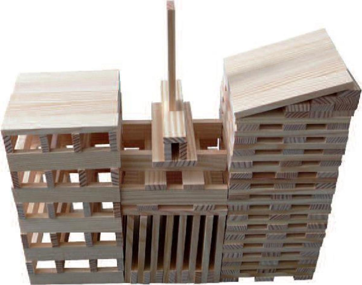 Bild 2 von Coemo Holzbausteine natur Kreativ-Baukasten 120 Teile