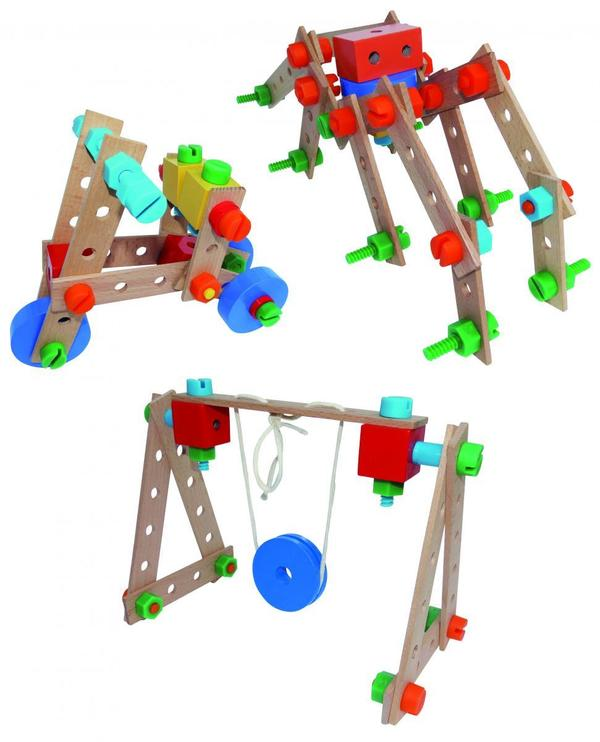 Coemo Konstruktionsbaukasten aus Holz 130 Teile