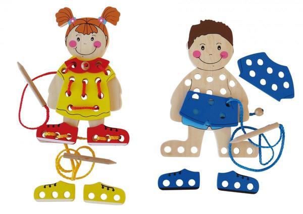 Coemo Fädelspiel Anzieh-Puppen aus Holz