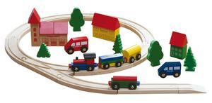 Coemo Holzeisenbahn Eisenbahn Anlage aus Holz 35 Teile