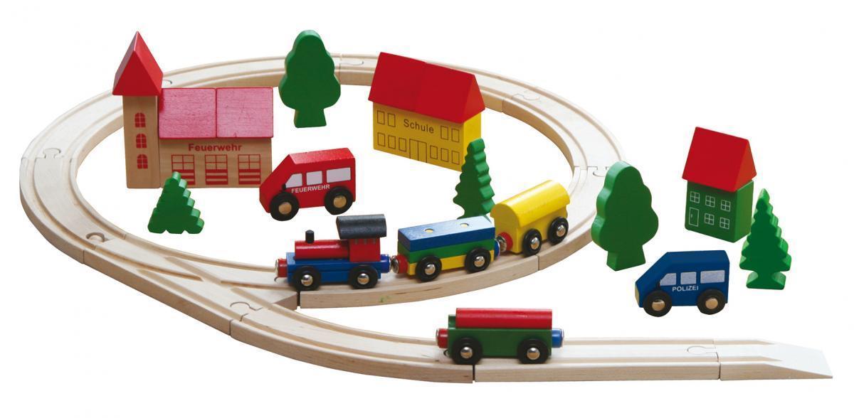 Bild 1 von Coemo Holzeisenbahn Eisenbahn Anlage aus Holz 35 Teile