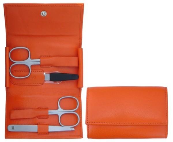 3F Lederetui (Rindleder) 4-tlg. mit Druckknopf orange