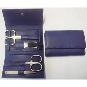 3F Lederetui (Rindleder) 4-tlg. mit Druckknopf blau