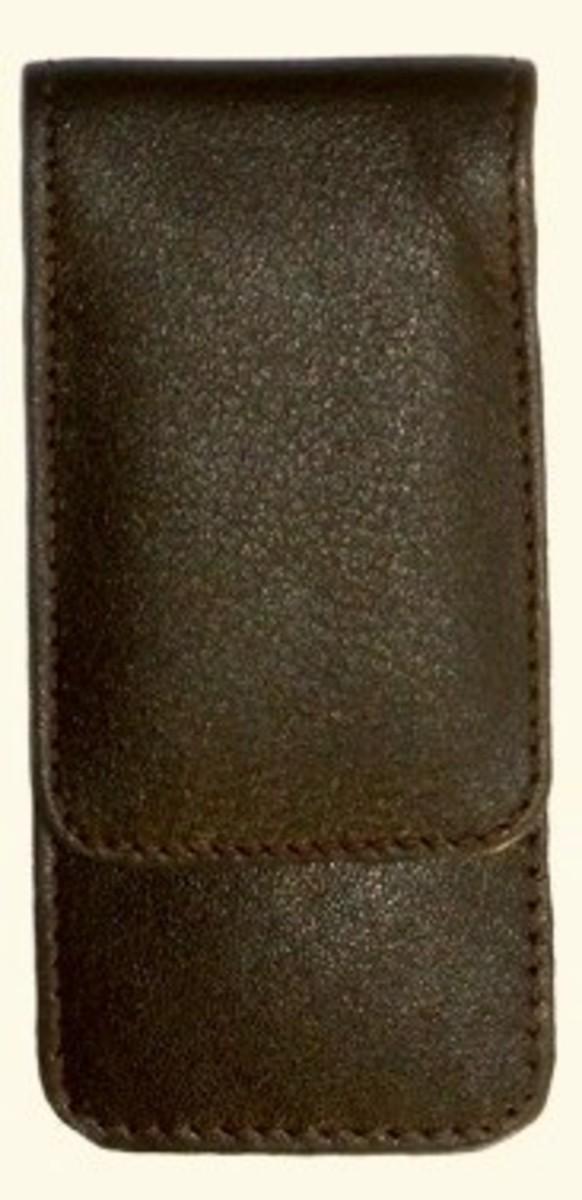 Bild 1 von 3F Lederetui (Rindleder) 3-tlg. mit Druckknopf braun