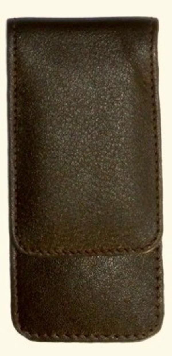 3F Lederetui (Rindleder) 3-tlg. mit Druckknopf braun