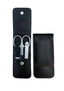 3F Lederetui (Rindleder) 3-tlg. mit Druckknopf schwarz