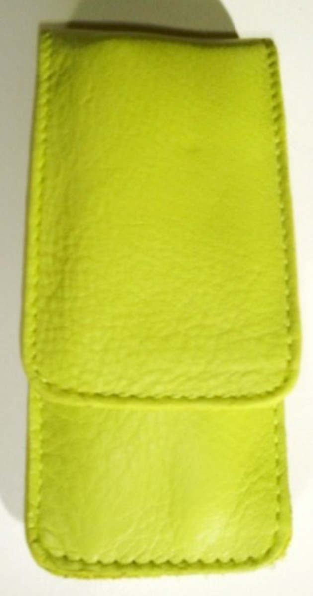 Bild 1 von 3F Lederetui (Rindleder) 3-tlg. mit Druckknopf grün