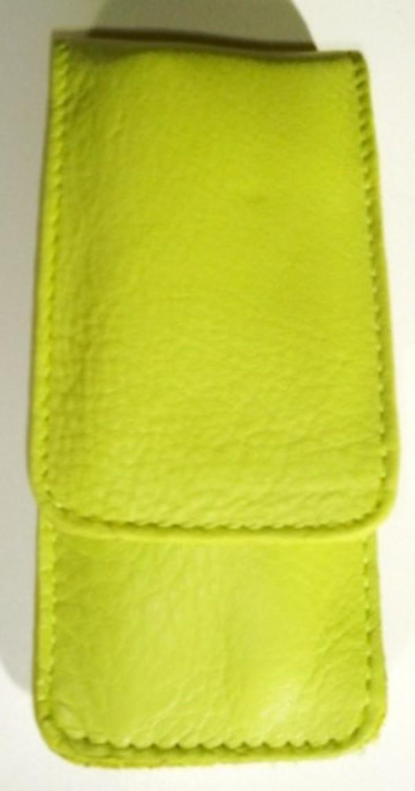 3F Lederetui (Rindleder) 3-tlg. mit Druckknopf grün