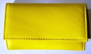 3F Lederetui (Rindleder) 4-tlg. mit Druckknopf, gelb