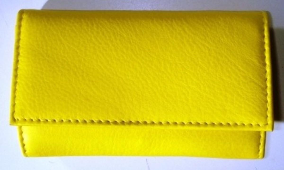 Bild 1 von 3F Lederetui (Rindleder) 4-tlg. mit Druckknopf, gelb