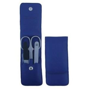 3F Lederetui (Rindleder) 3-tlg. mit Druckknopf, blau