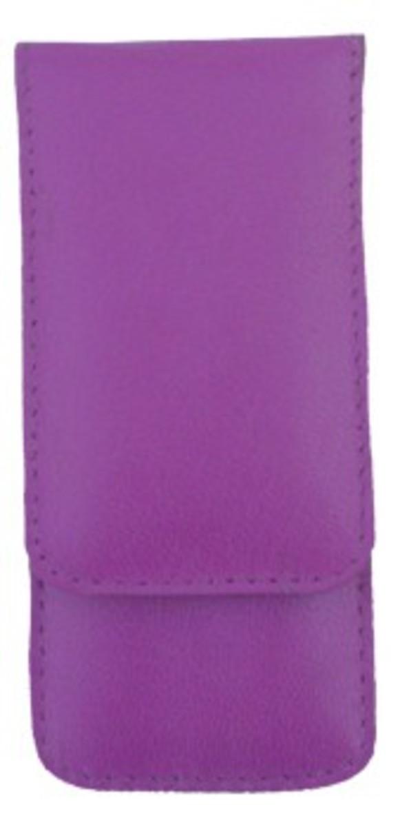 Bild 1 von 3F Lederetui (Rindleder) 3-tlg. mit Druckknopf, lila