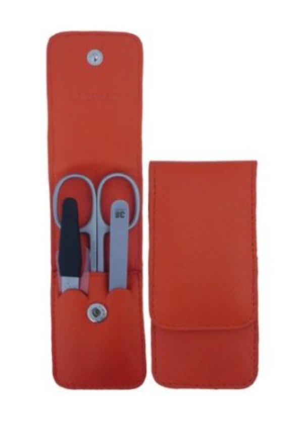 3F Lederetui (Rindleder) 3-tlg. mit Druckknopf, orange