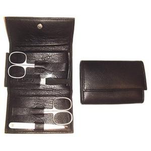 3F Lederetui (Rindleder) 4-tlg. mit Druckknopf, schwarz