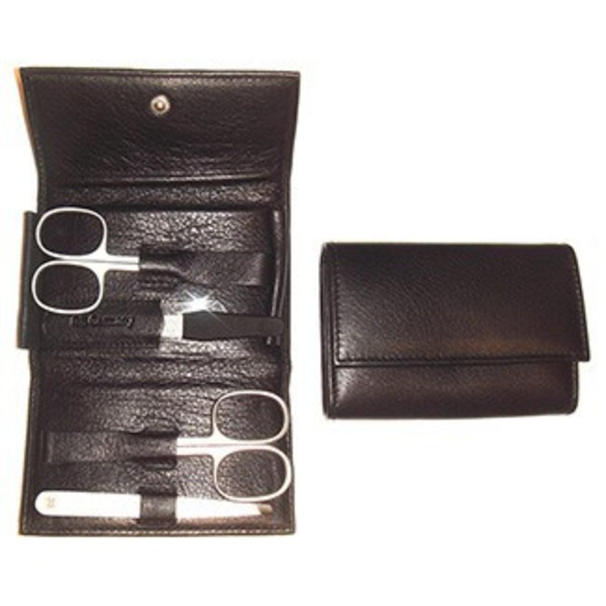 Bild 1 von 3F Lederetui (Rindleder) 4-tlg. mit Druckknopf, schwarz