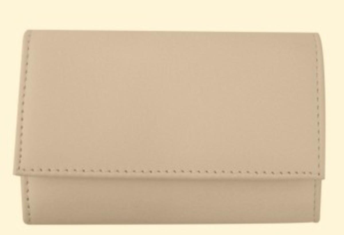 Bild 1 von 3F Lederetui (Rindleder) 4-tlg. mit Druckknopf, beige