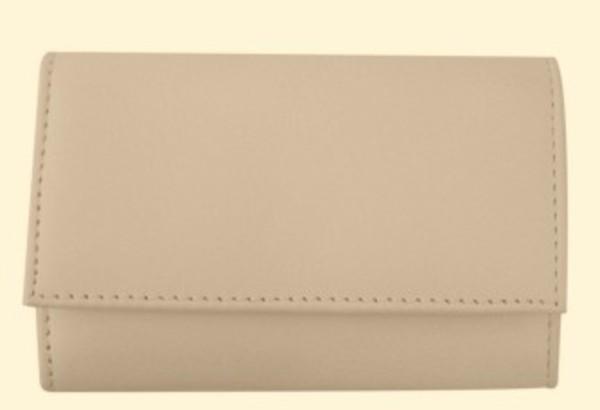 3F Lederetui (Rindleder) 4-tlg. mit Druckknopf, beige