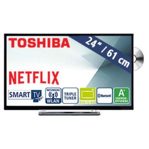 "24""-LED-HD-TV/DVD 24D3763DA • Auflösung 1.366 x 768 Pixel • HbbTV, H.265, Dual Core • 2 HDMI-Eingänge, USB-/CI+-Anschluss • Stand-by: 0,5 Watt, Betrieb: 19 Watt • Maße: H 33,6 x B 55,4"
