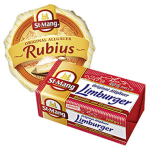 St.Mang Limburger oder St.Mang Rubius Deutscher Weichkäse, 40/60 % Fett i. Tr. und weitere Sorten,  jede 180/200-g-Packung