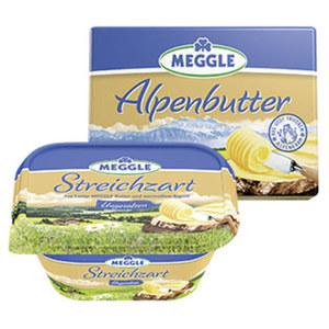 Meggle Alpenbutter oder Streichzart versch. Sorten, jede 250-g-Packung