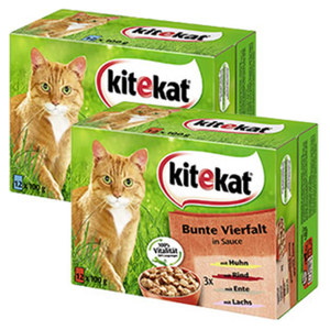 Kitekat  Katzen-Nassnahrung versch. Sorten, jede 12 x 100 g = 1200-g-Multi-Packung