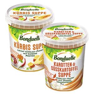 Bonduelle Suppen, versch. Sorten, z.B. Karotte&Süßkartoffel, Kürbis-Chilipfeffer oder Paprika-Tomate-Chili, jeder 460-ml-Becher