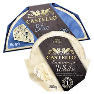 Castello Blue oder White Dänischer Edelpilzkäse,  70/65 % Fett i. Tr. und weitere Sorten, jede 150/200-g-Packung