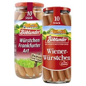 Böklunder Wiener oder Frankfurter Art jedes 10 Stück = 500-g-Glas