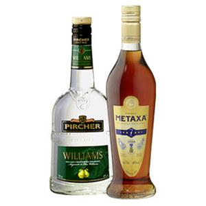 Pircher Williams und weitere Sorten  oder Metaxa 7 Stern 40/40 % Vol.,  jede 0,7-l-Flasche