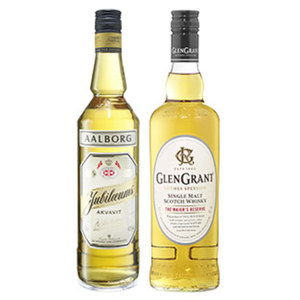 Glen Grant Single Malt Scotch Whisky und Aalborg Akvavit 40/40 % Vol.,  jede 0,7-l-Flasche
