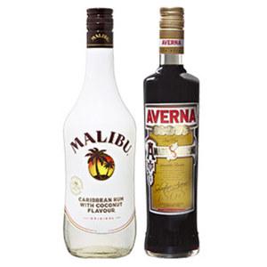 Averna Amaro oder Malibu 29/21 % Vol.,  jede 0,7-l-Flasche