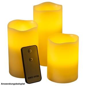 LED Echtwachskerzen Set 3-teilig mit Ferbedienung