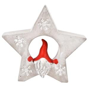 Deko Weihnachtsfigur Santa mit Stern klein aus Steinguss