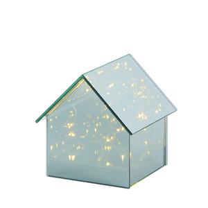 Weihnachten  Deko-Glashaus mit 15 LEDs H 14,5 x B 14 x T 14 cm