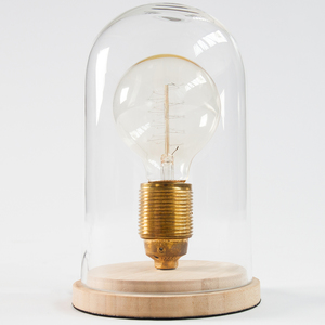 Vintage Tischlampe EDISON im Retro Stil Edison Lampe E27 Holz Glas Glaskuppel Wohnzimmerlampe Glühbirne Tischleuchte Nostalgie