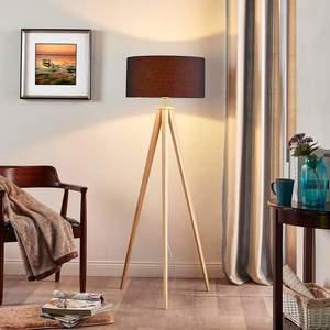 Dreibein-Stehlampe Mya Holz Textilschirm Schwarz Lampenwelt Stehleuchte Modern